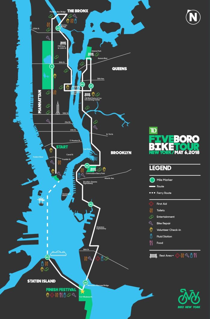 5 boro bike tour map